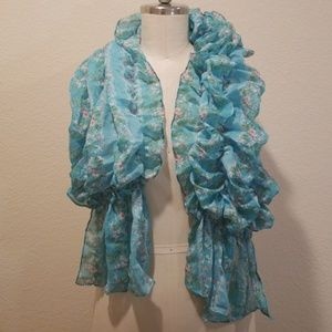 Accessories - Blue Spring Floral Elastic Scarf